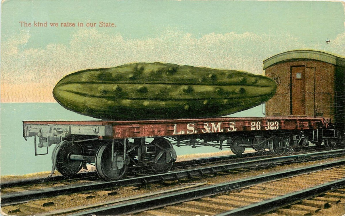 Pickle Train Vintage Postcard