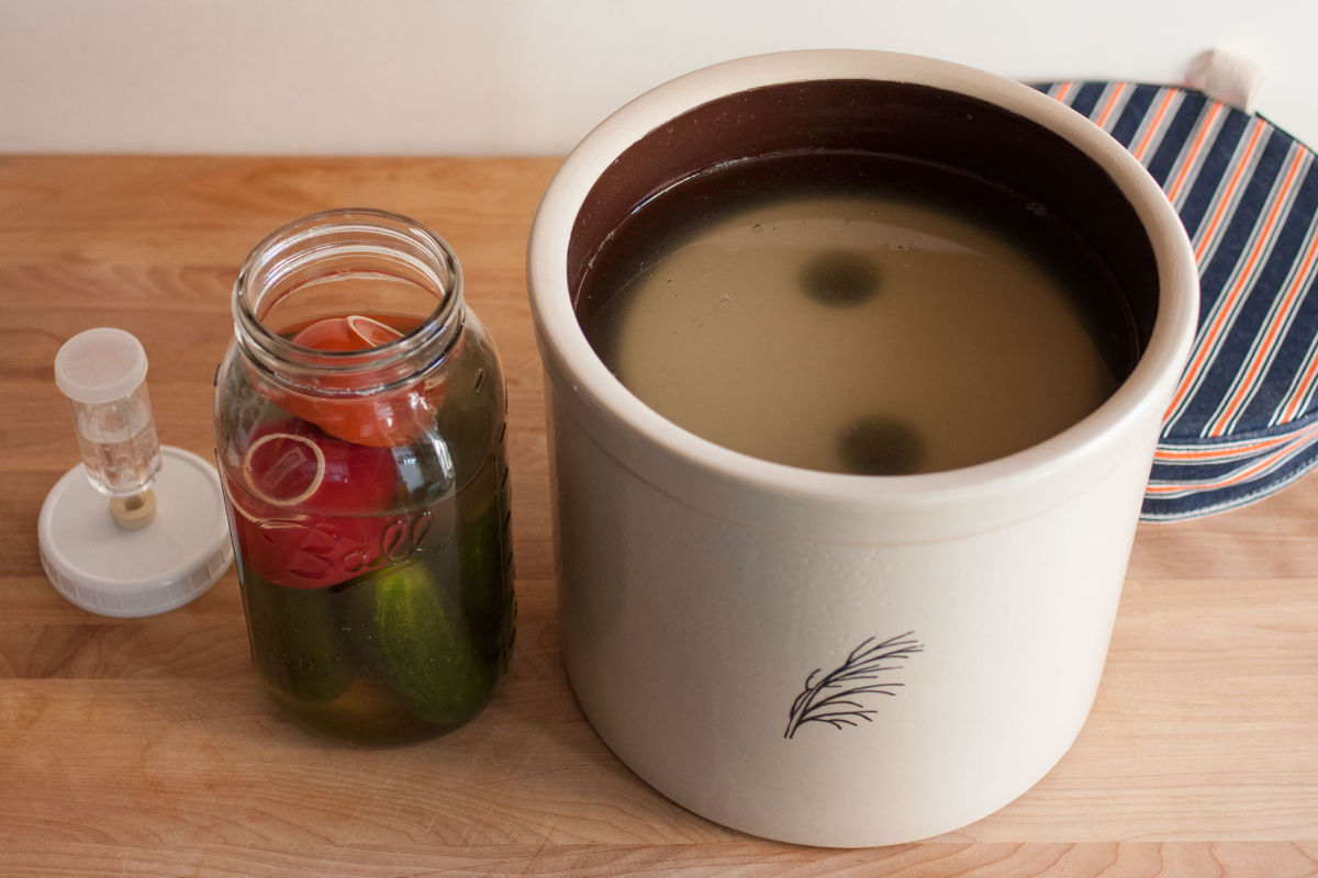 Pickles in a jar and a crock