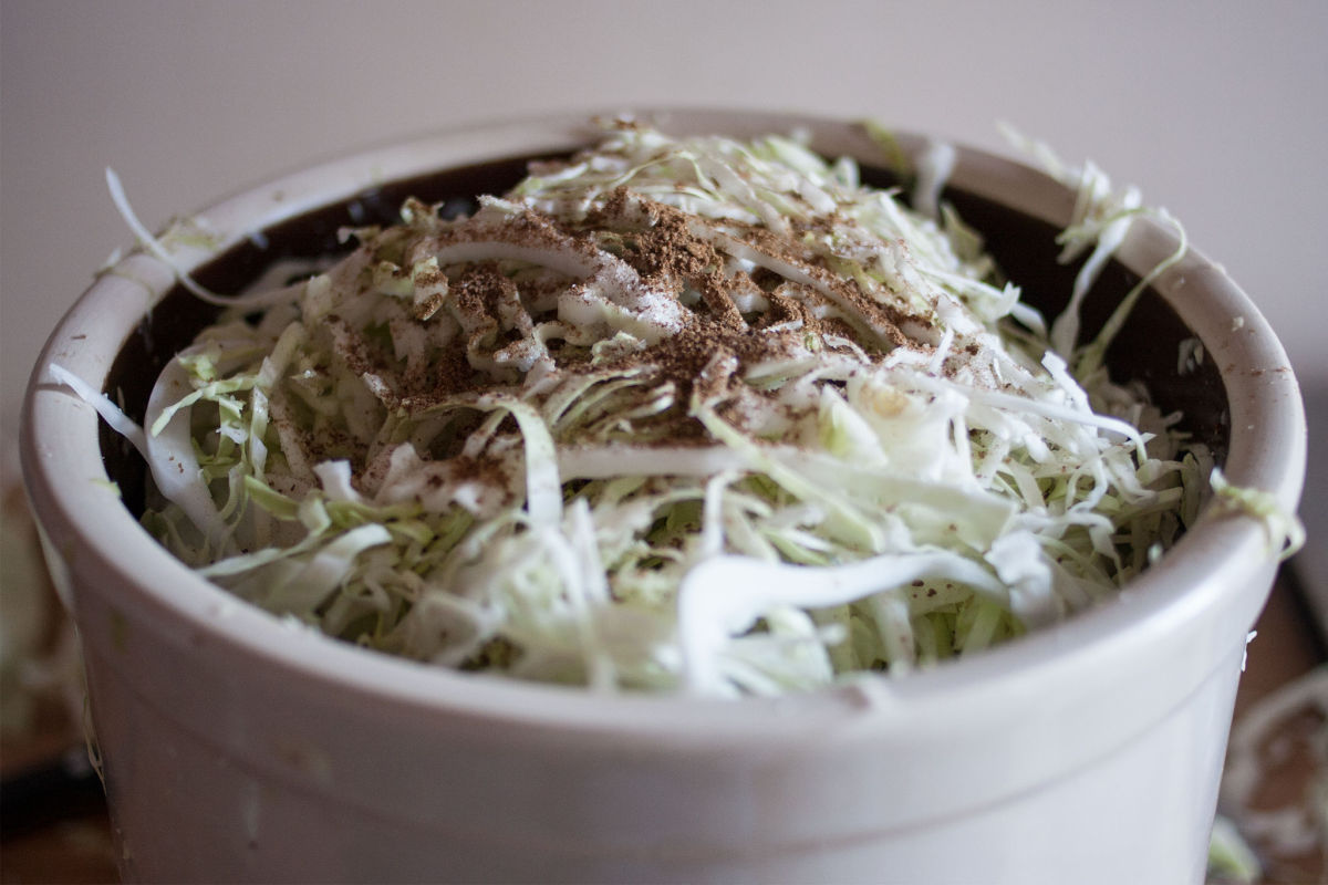 Cabbage with ground dill seed in a crock