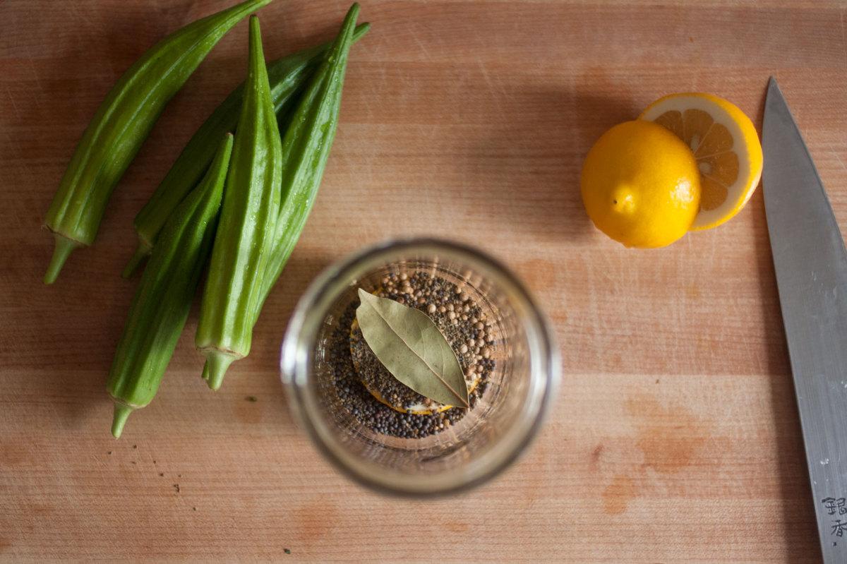 Making pickled okra