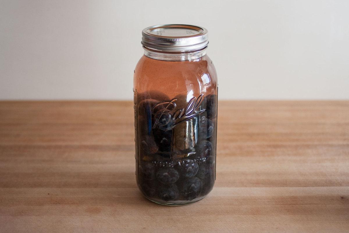 Damson gin in a jar