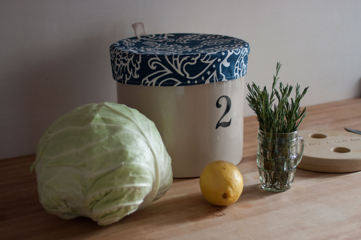 Making Lemon Rosemary Sauerkraut