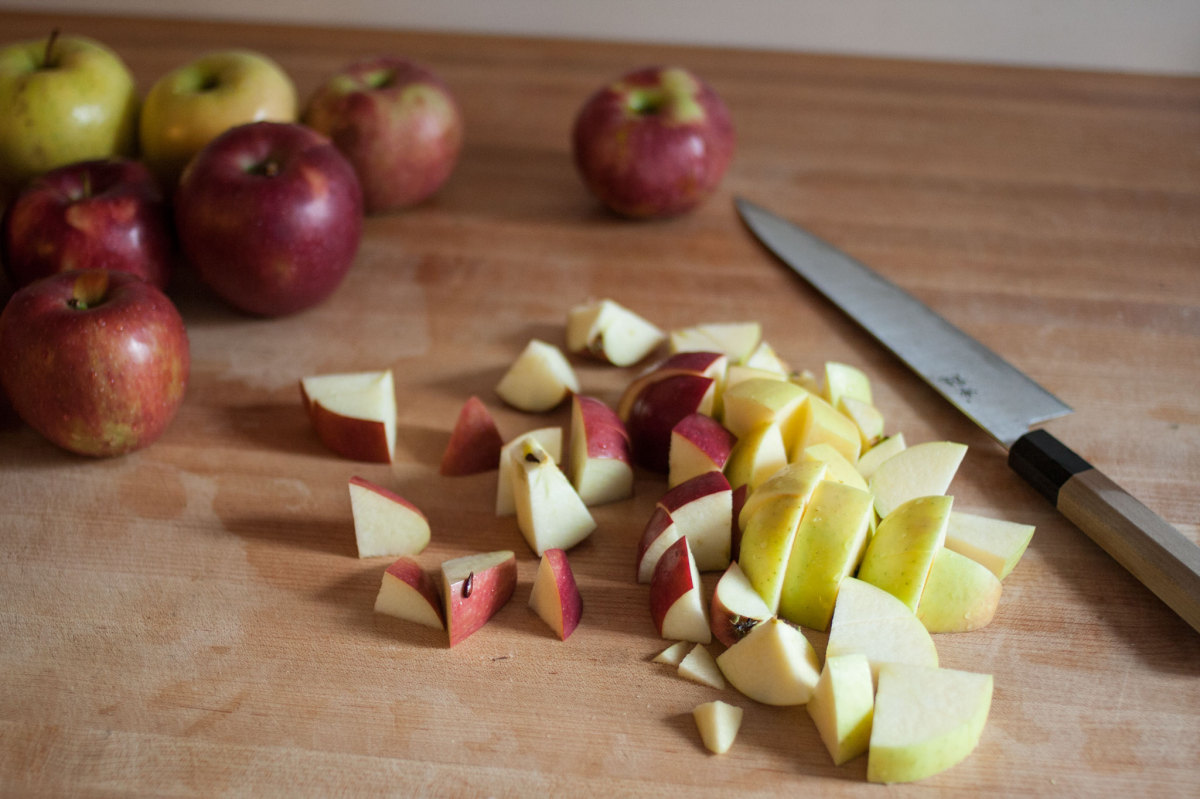 Chopping apples for apple butter