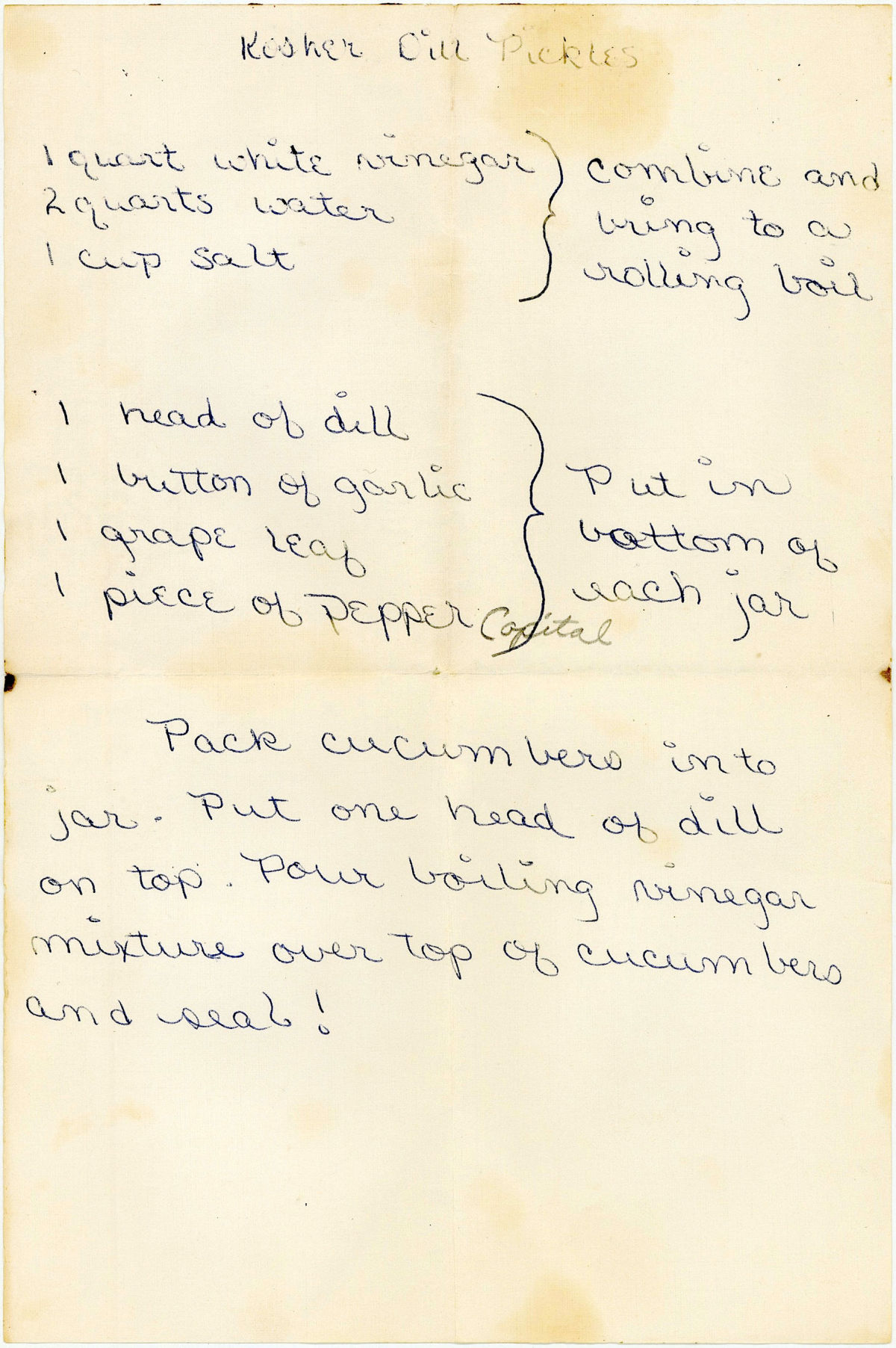 Vintage kosher dill recipe