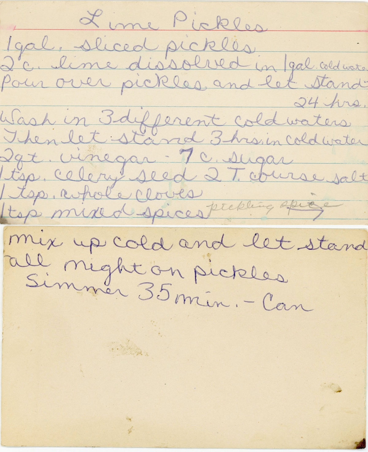 Vintage lime pickle recipe