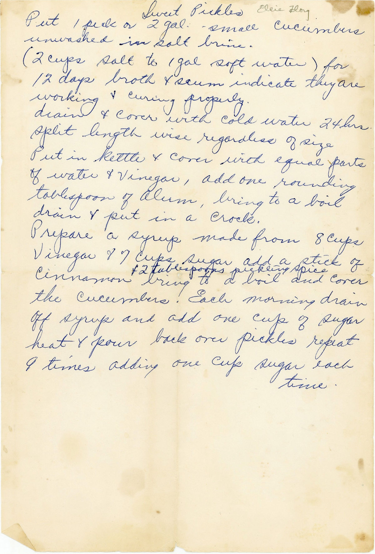 Vintage sweet cured pickles recipe