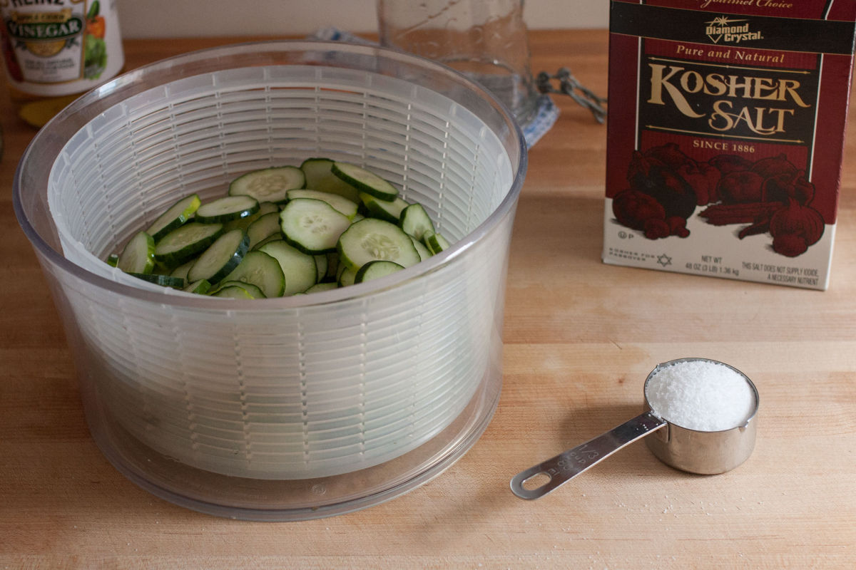 Salting cucumbers for refrigerator pickles